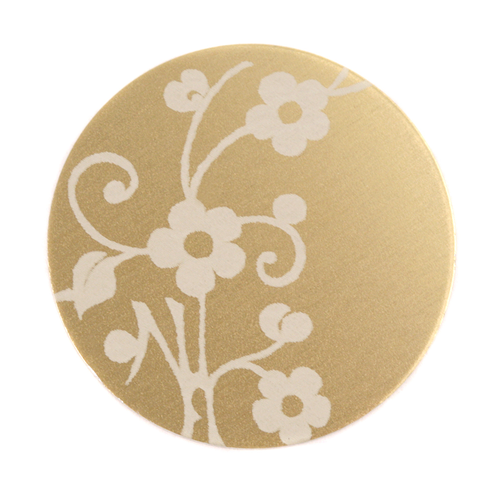 "Anodized Aluminum 1"" Circle, Gold, Design #1, 22g"