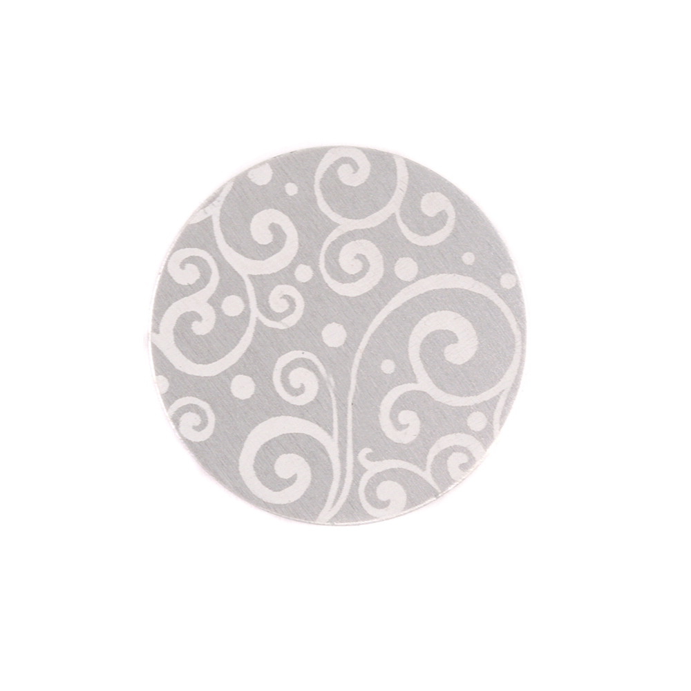 "Anodized Aluminum 5/8"" Circle, Silver, Design #21, 22g"