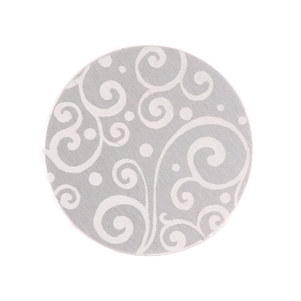 "Anodized Aluminum 3/4"" Circle, Silver, Design #21, 22g"