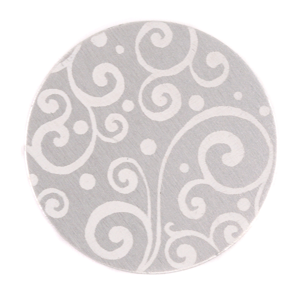 "Anodized Aluminum 1"" Circle, Silver, Design #21, 22g"