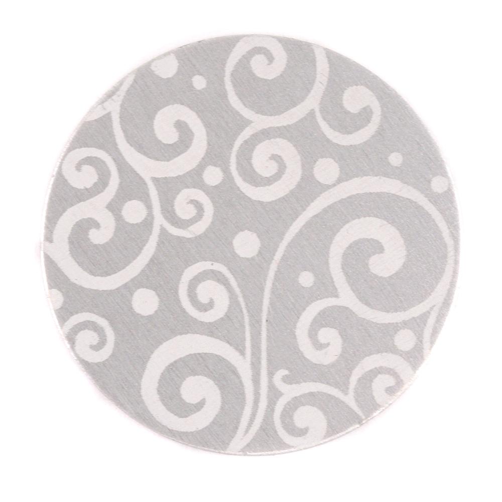 "Anodized Aluminum 1"" Circle, Silver, Design #21, 22g"