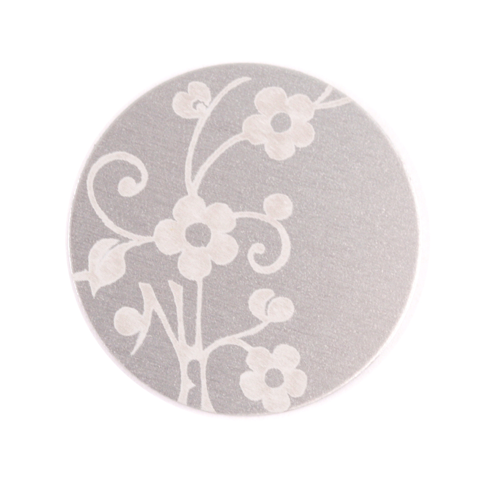 "Anodized Aluminum 3/4"" Circle, Silver, Design #1, 22g"