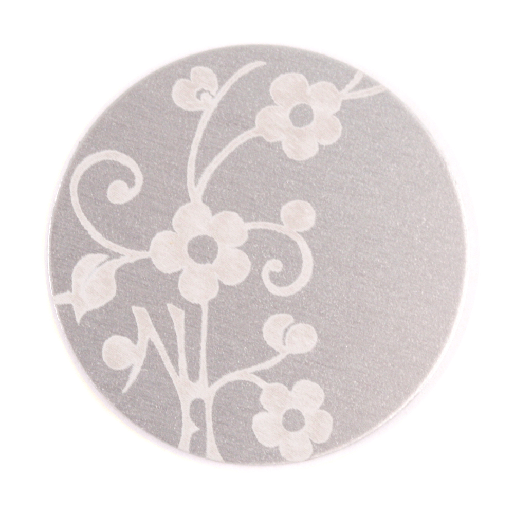 "Anodized Aluminum 1"" Circle, Silver, Design #1, 22g"