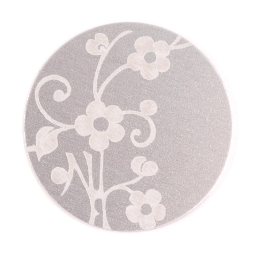 "Anodized Aluminum 1"" Circle, Silver, Design #1, 22g"