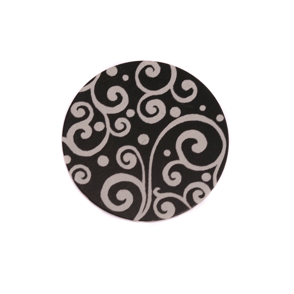 """Anodized Aluminum 5/8"""" Circle, Black, Design #21, 22g"""