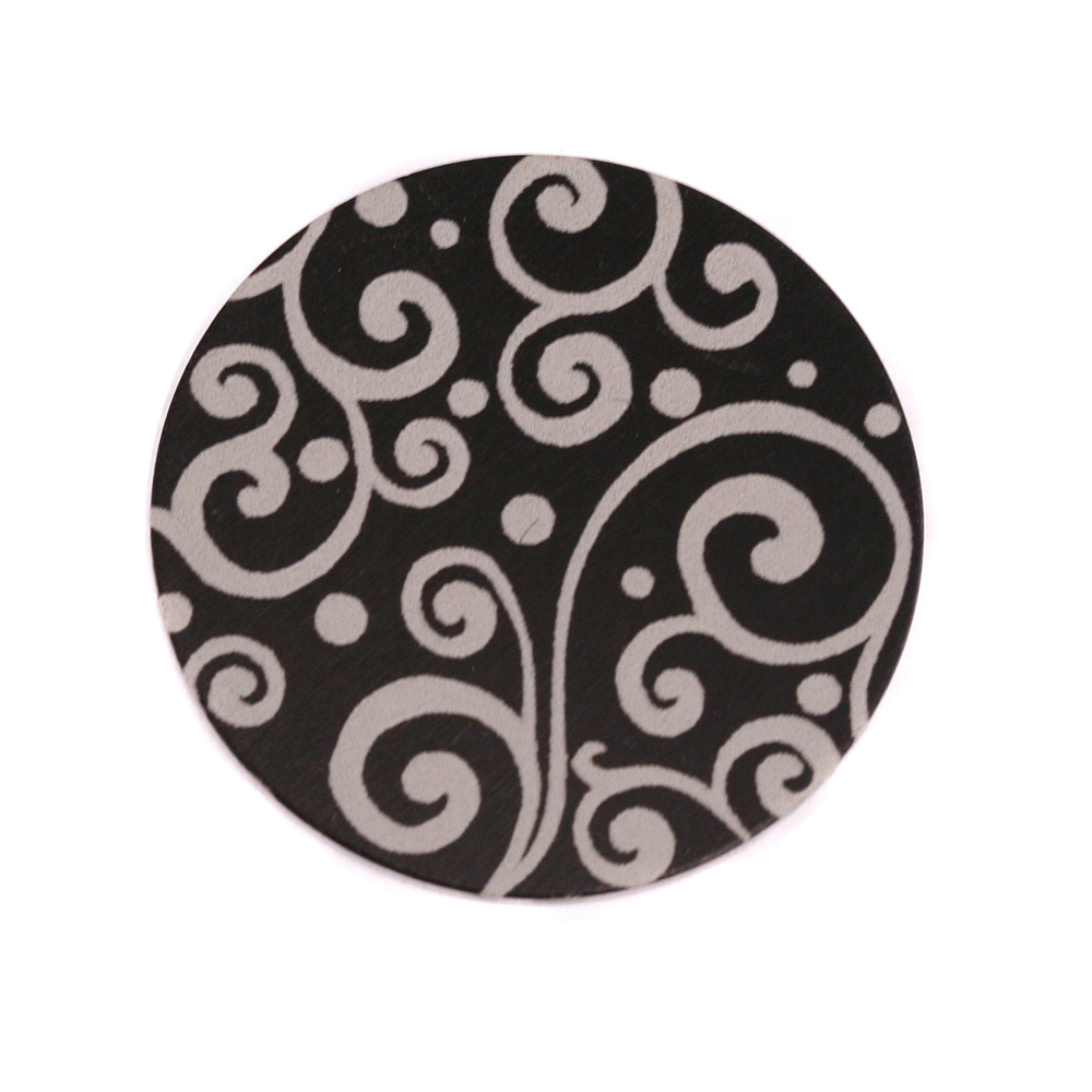 "Anodized Aluminum 3/4"" Circle, Black, Design #21, 22g"