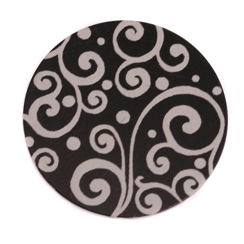 """Anodized Aluminum 1"""" Circle, Black, Design #21, 22g"""