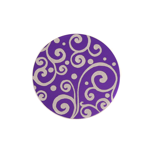 "Dregs Anodized Aluminum 5/8"" Circle, Purple, Design #21, 22g"