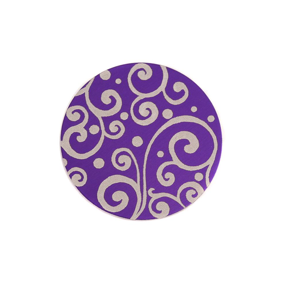 "Anodized Aluminum 5/8"" Circle, Purple, Design #21, 22g"