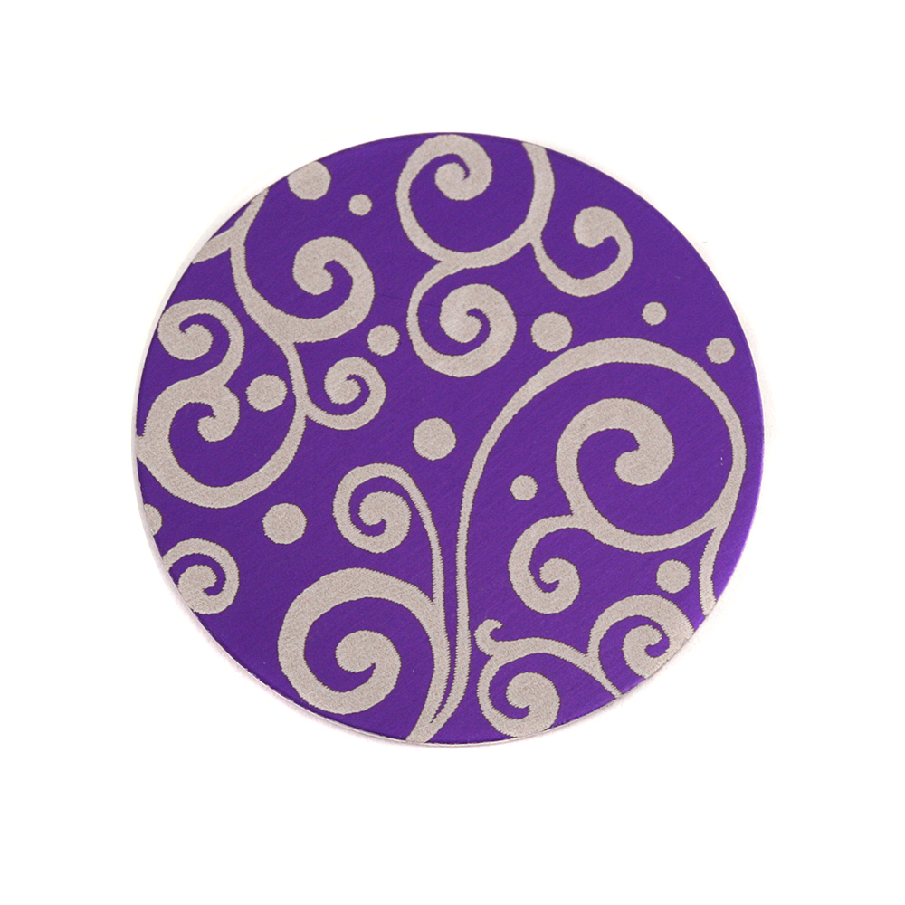 "Anodized Aluminum 3/4"" Circle, Purple, Design #21, 22g"