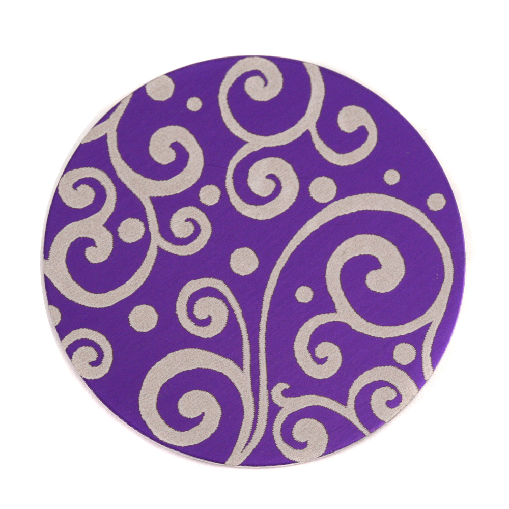 "Anodized Aluminum 1"" Circle, Purple, Design #21, 22g"