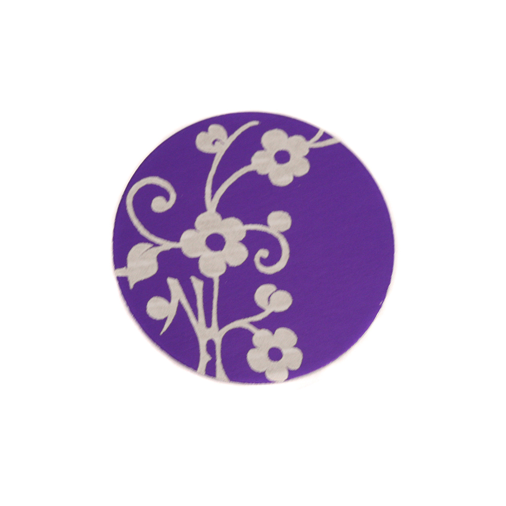 "Anodized Aluminum 5/8"" Circle, Purple, Design #1, 22g"