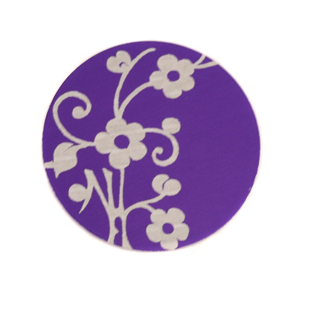 "Anodized Aluminum 3/4"" Circle, Purple, Design #1, 22g"