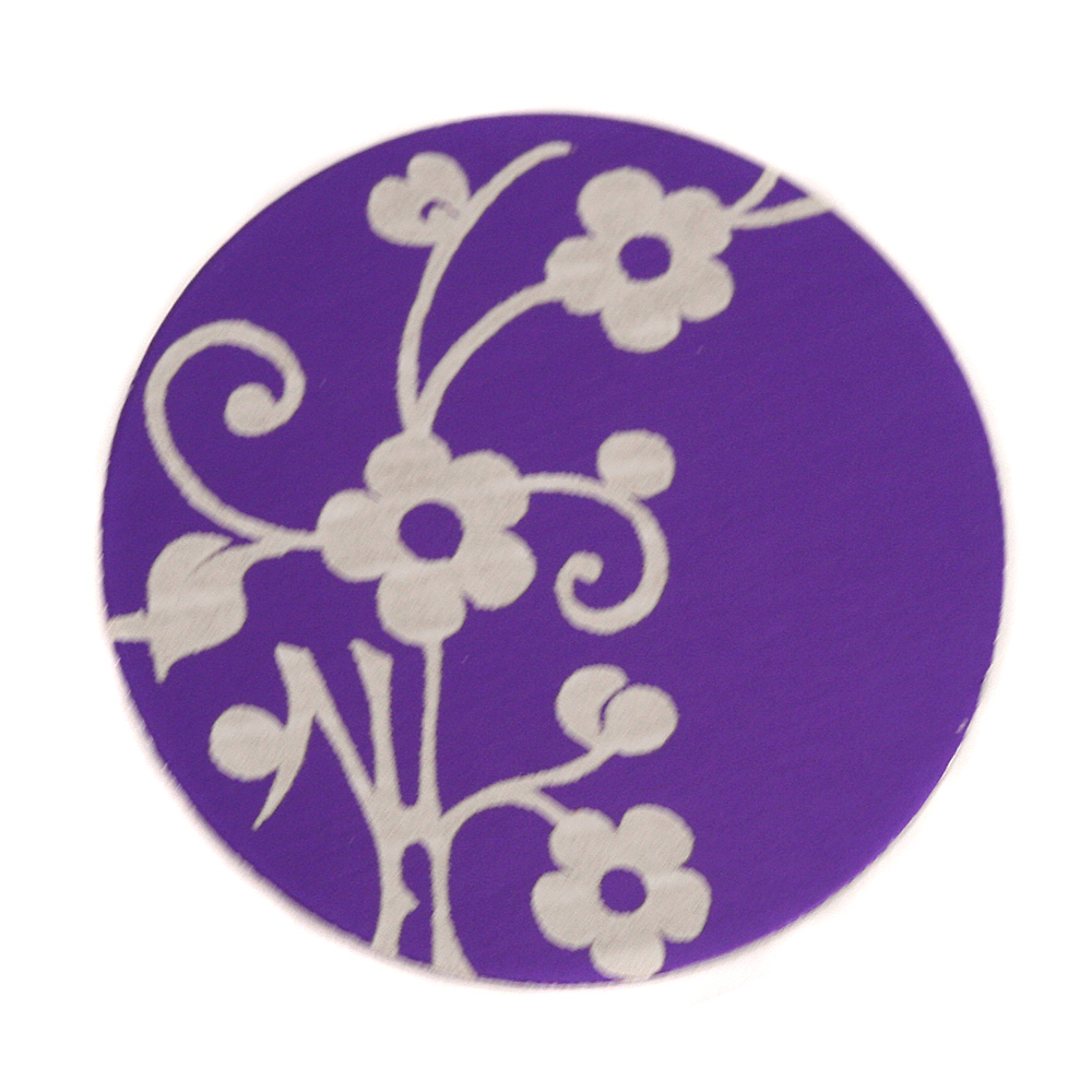 "Anodized Aluminum 1"" Circle, Purple, Design #1, 22g"