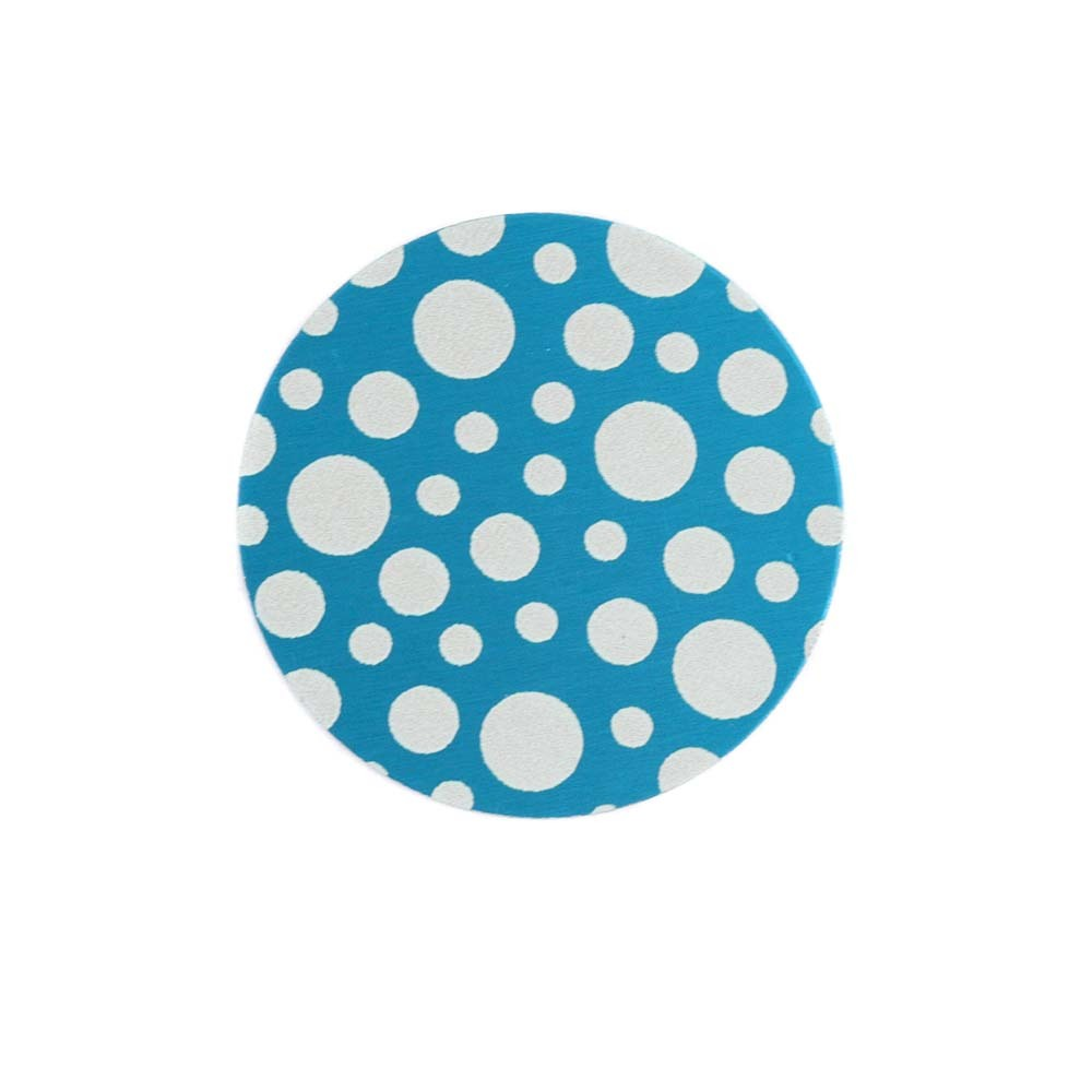 "Anodized Aluminum 5/8"" Circle, Turquoise, Design #12, 22g"