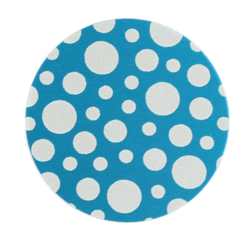 "Dregs Anodized Aluminum 1"" Circle, Turquoise, Design #12, 22g"