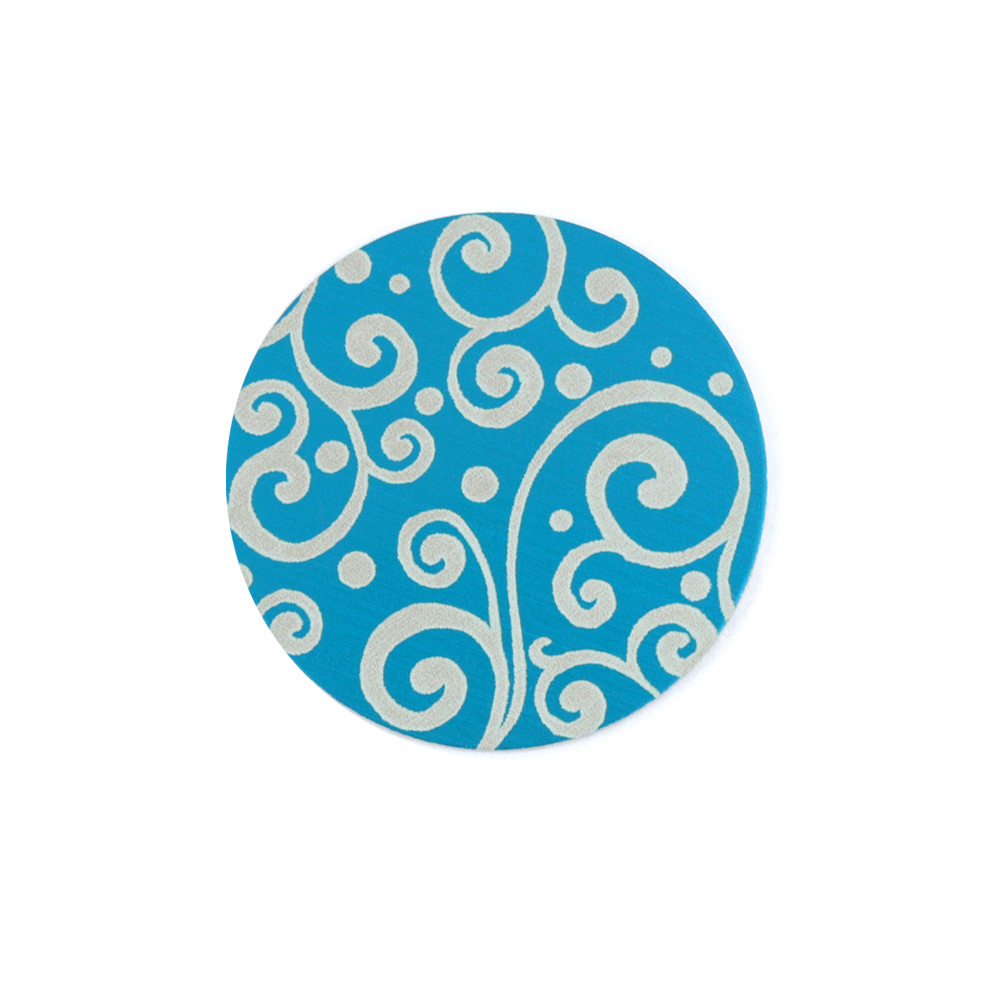 "Anodized Aluminum 5/8"" Circle, Turquoise, Design #21, 22g"