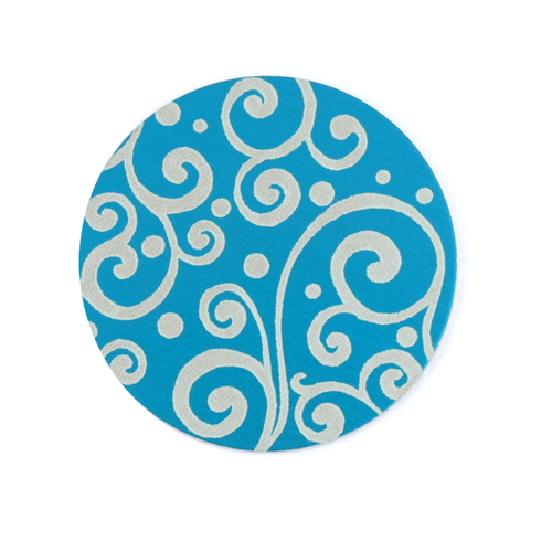 "Dregs Anodized Aluminum 3/4"" Circle, Turquoise, Design #21, 22g"