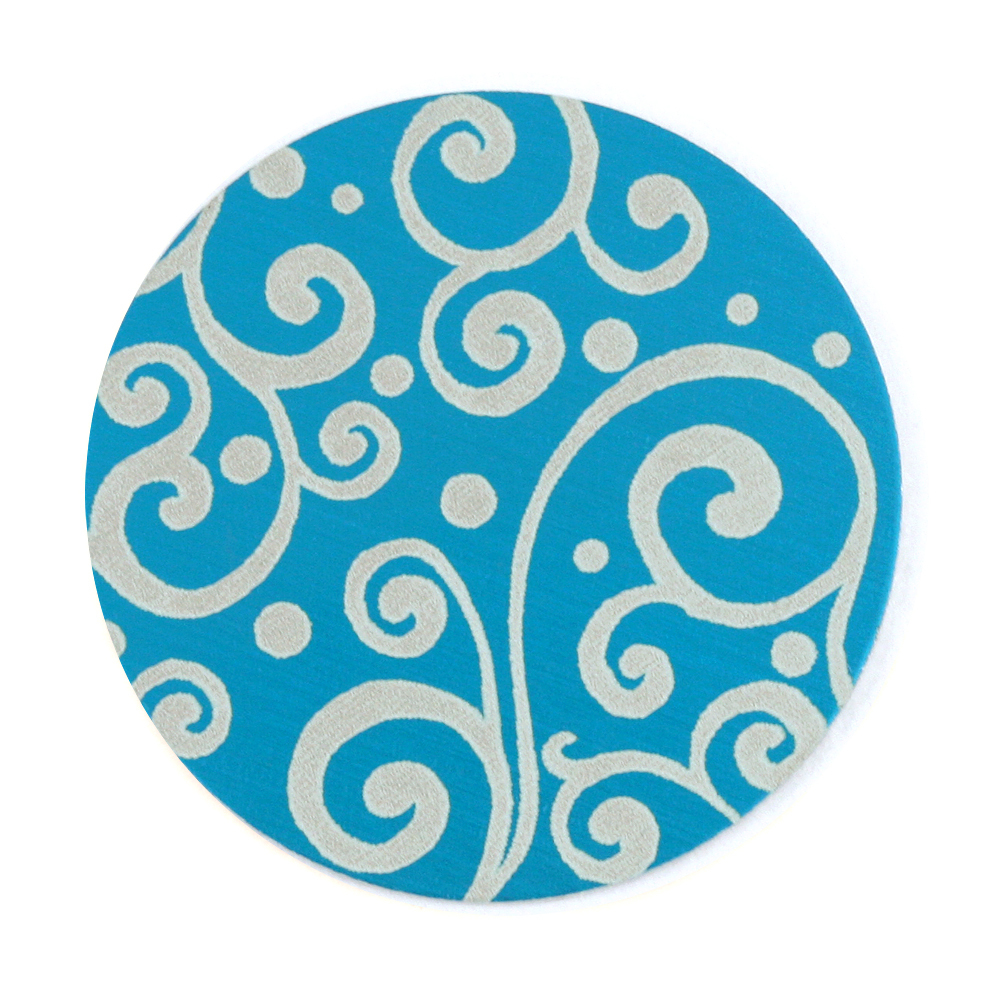 "Anodized Aluminum 1"" Circle, Turquoise, Design #21, 22g"