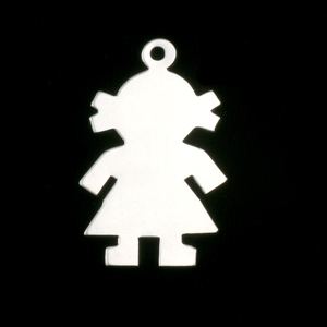 Metal Stamping Blanks Sterling Silver Girl Body Silhouette Charm, 24g