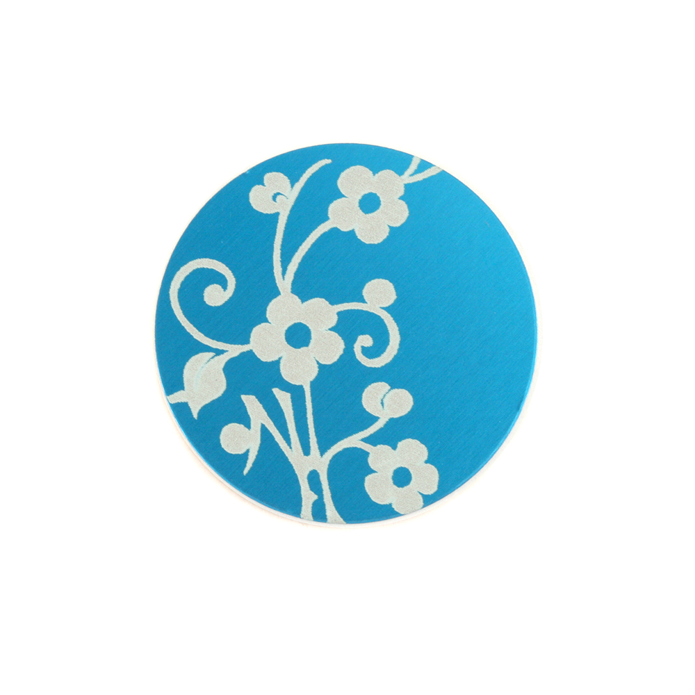 "Anodized Aluminum 5/8"" Circle, Turquoise, Design #1, 22g"