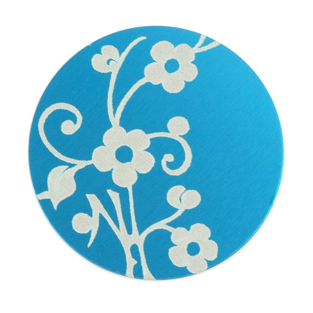 "Anodized Aluminum 1"" Circle, Turquoise, Design #1, 22g"