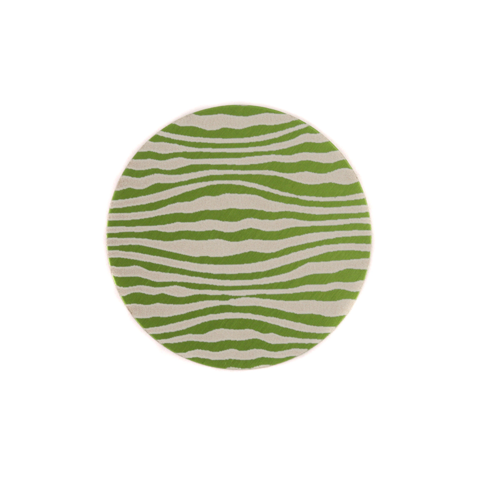 "Anodized Aluminum 5/8"" Circle, Lime Green, Design #18, 22g"