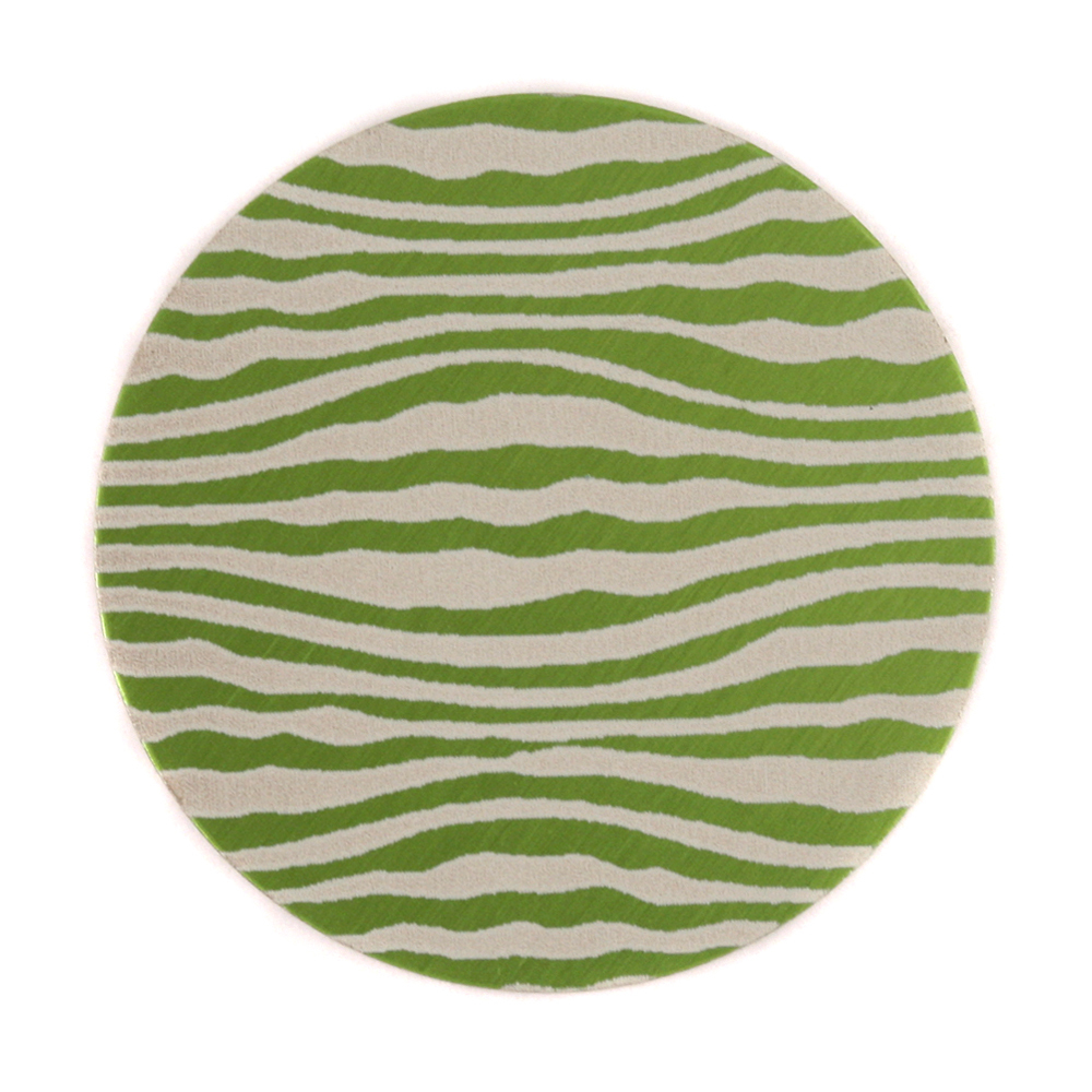 "Anodized Aluminum 1"" Circle, Lime Green, Design #18, 22g"