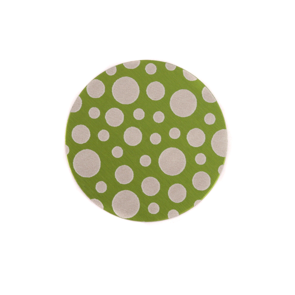 "Anodized Aluminum 5/8"" Circle, Lime Green, Design #12, 22g"