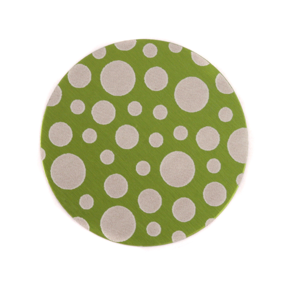 "Anodized Aluminum 3/4"" Circle, Lime Green, Design #12, 22g"