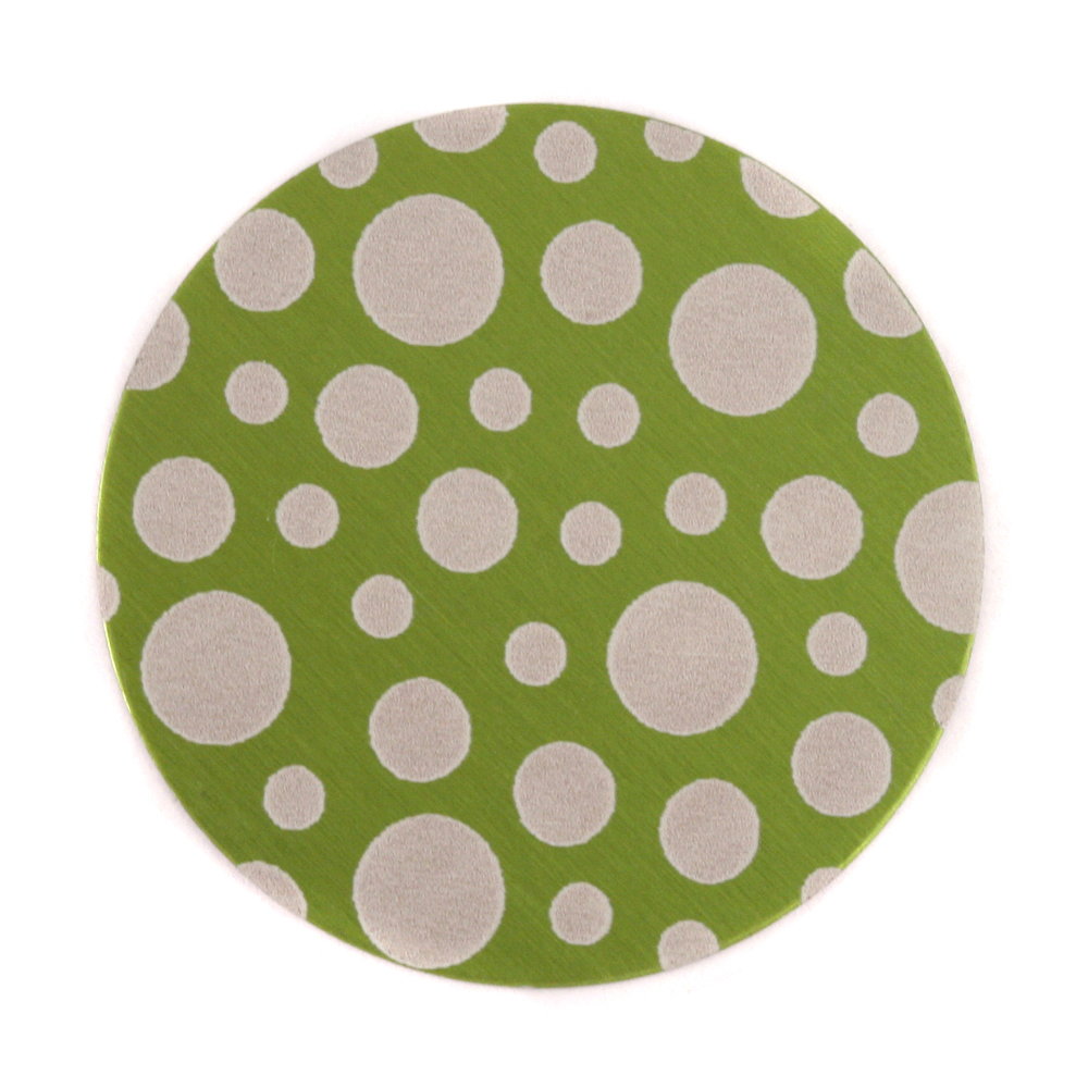 """Anodized Aluminum 1"""" Circle, Lime Green, Design #12, 22g"""