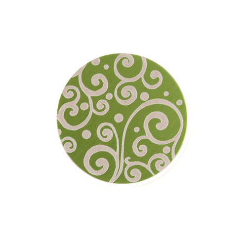 "Dregs Anodized Aluminum 5/8"" Circle, Lime Green, Design #21, 22g"
