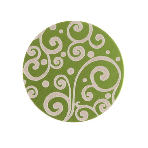 "Dregs Anodized Aluminum 3/4"" Circle, Lime Green, Design #21, 22g"