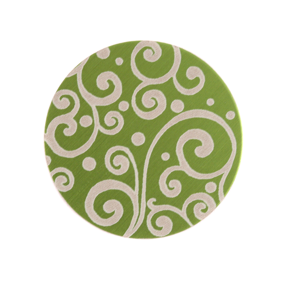 "Anodized Aluminum 3/4"" Circle, Lime Green, Design #21, 22g"