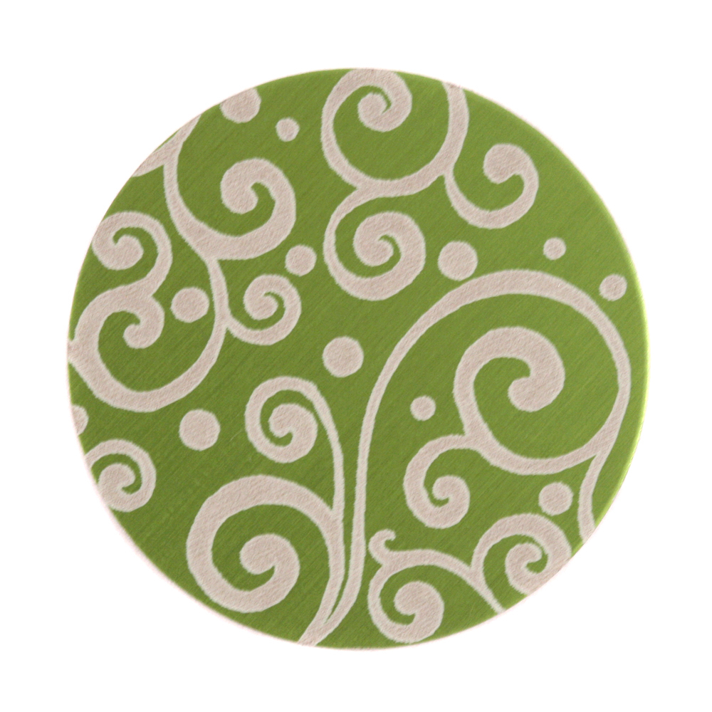 "Anodized Aluminum 1"" Circle, Lime Green, Design #21, 22g"