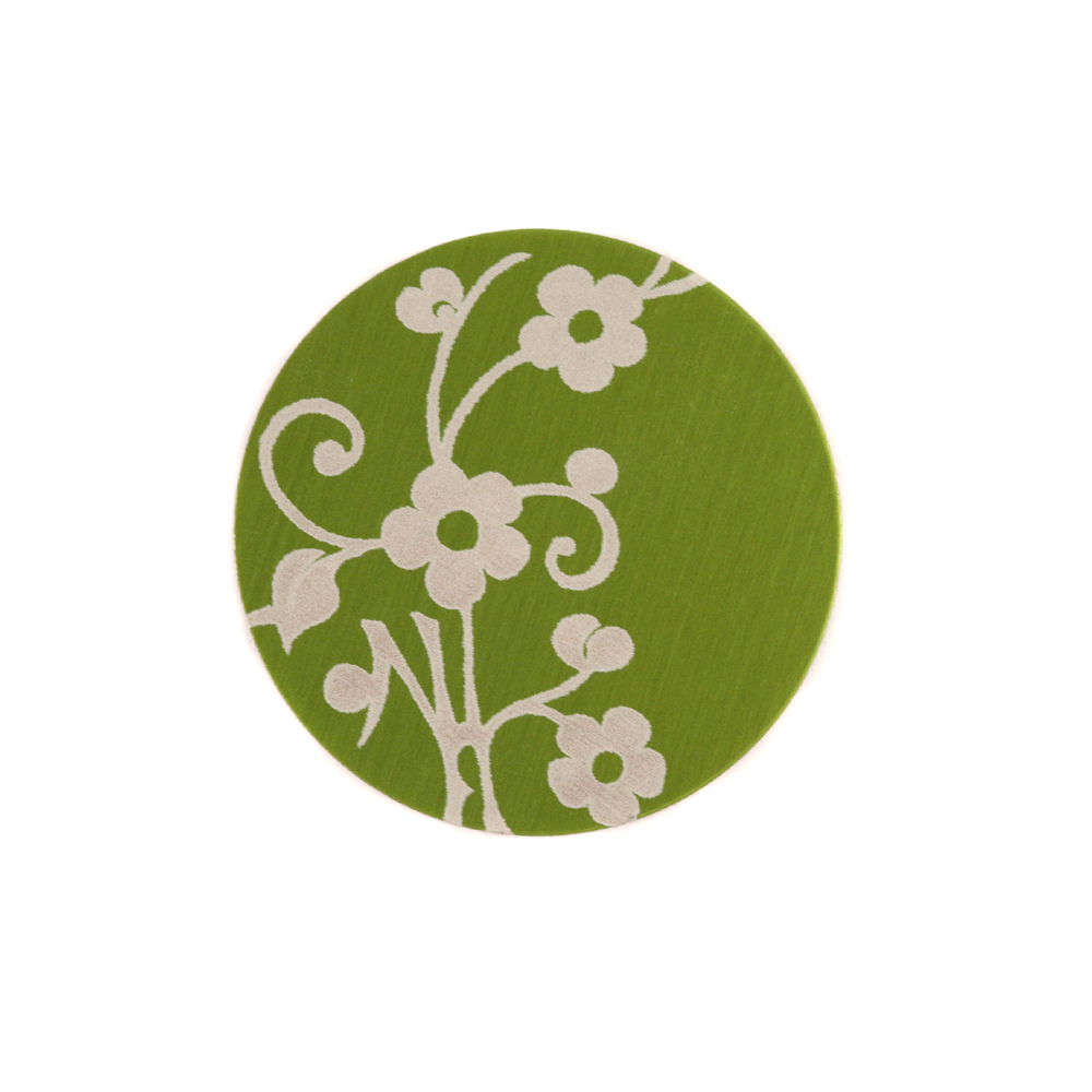 """Anodized Aluminum 5/8"""" Circle, Lime Green, Design #1, 22g"""