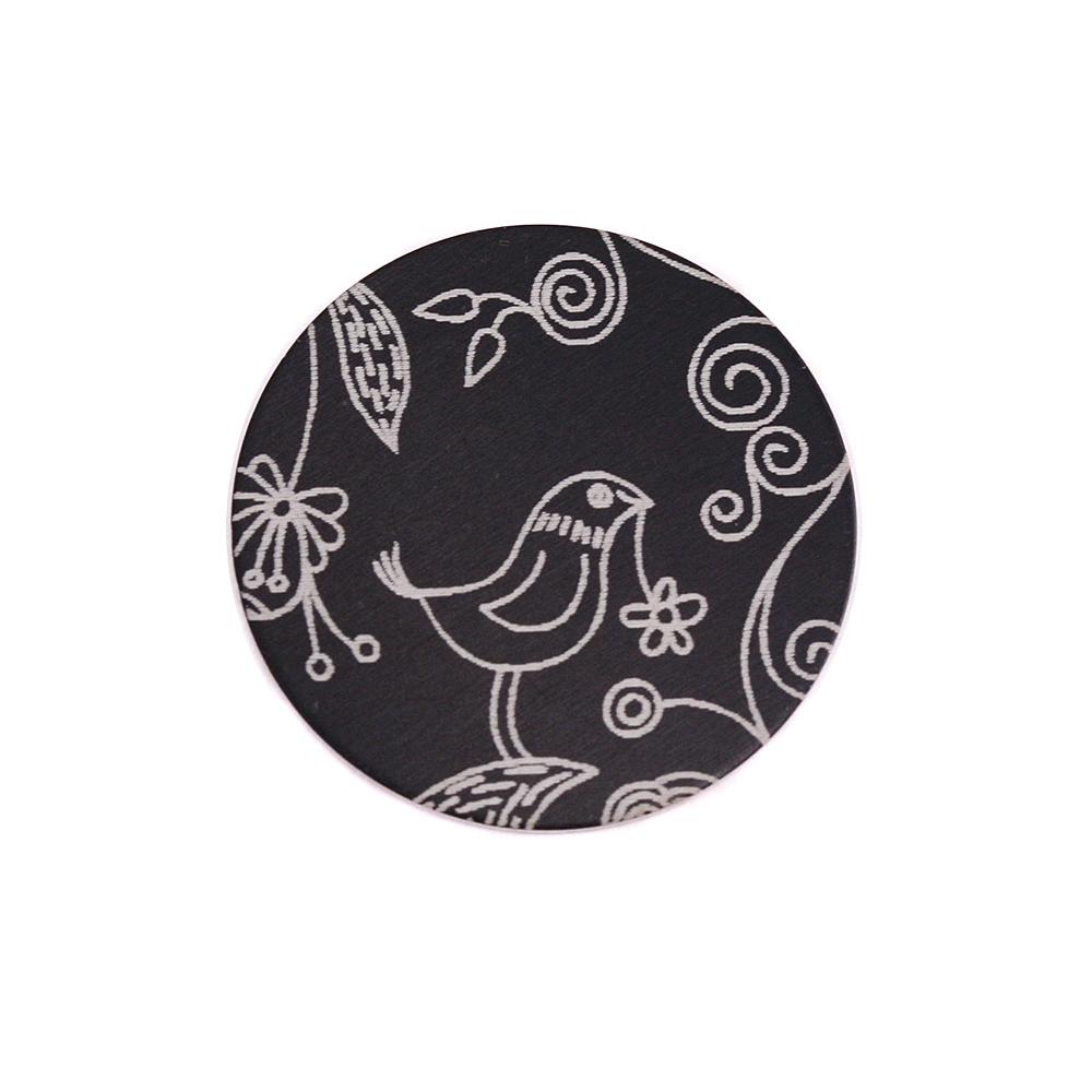 """Anodized Aluminum 5/8"""" Circle, Black, Design #22, 22g"""