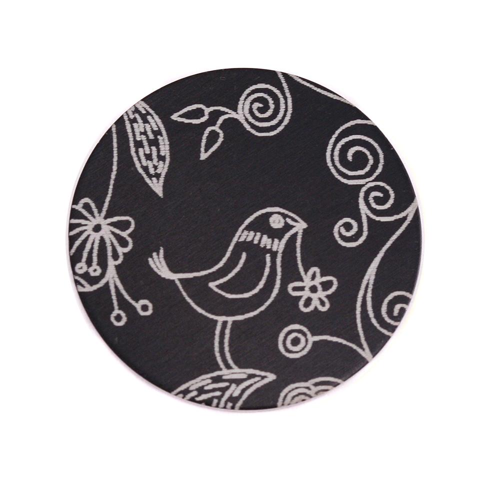 """Anodized Aluminum 3/4"""" Circle, Black, Design #22, 22g"""