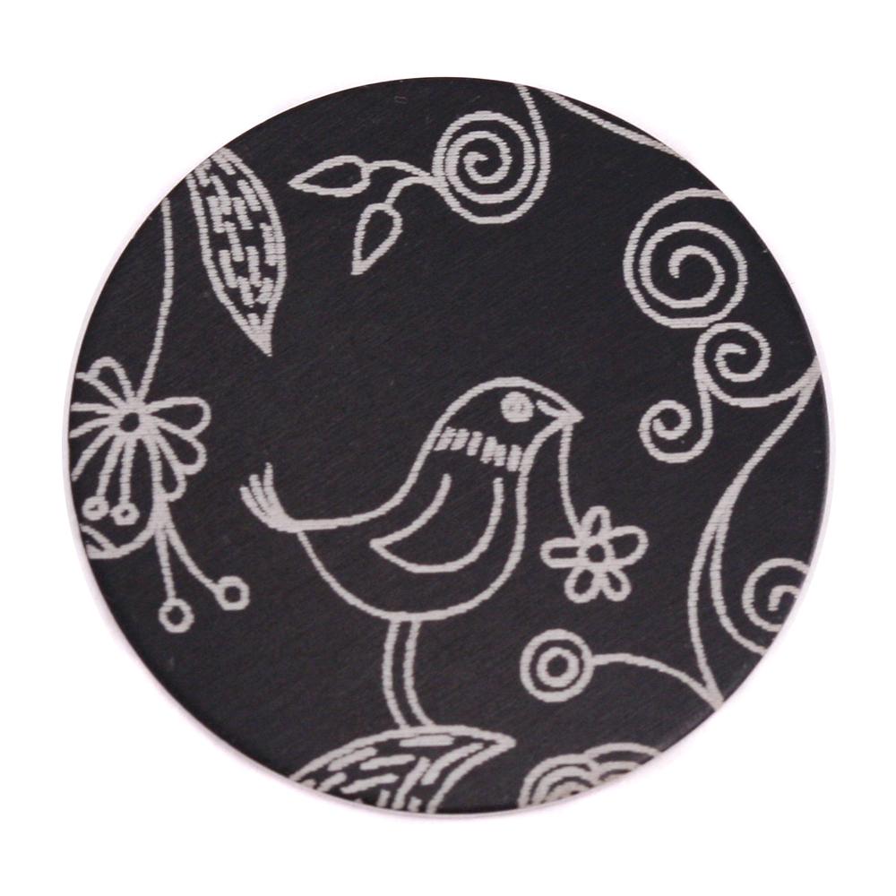 """Anodized Aluminum 1"""" Circle, Black, Design #22, 22g"""