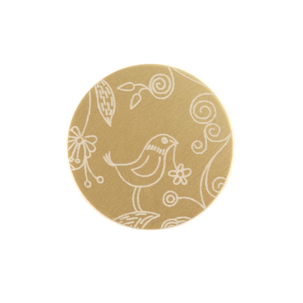 "Anodized Aluminum 5/8"" Circle, Gold, Design #22, 22g"