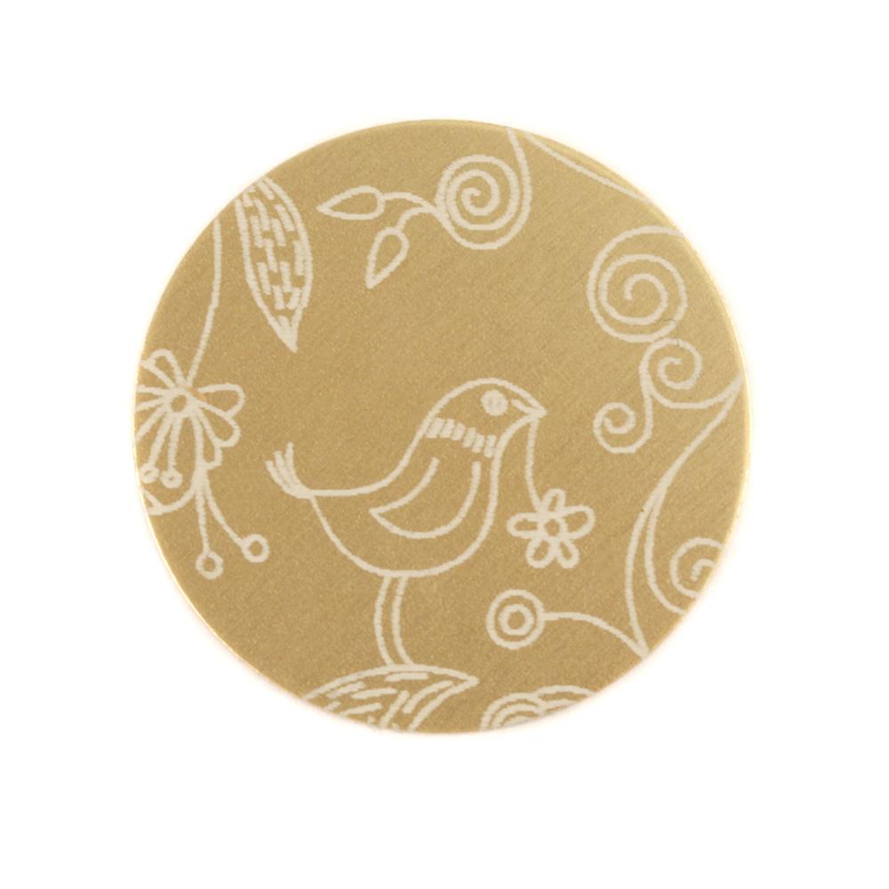 "Anodized Aluminum 3/4"" Circle, Gold, Design #22, 22g"