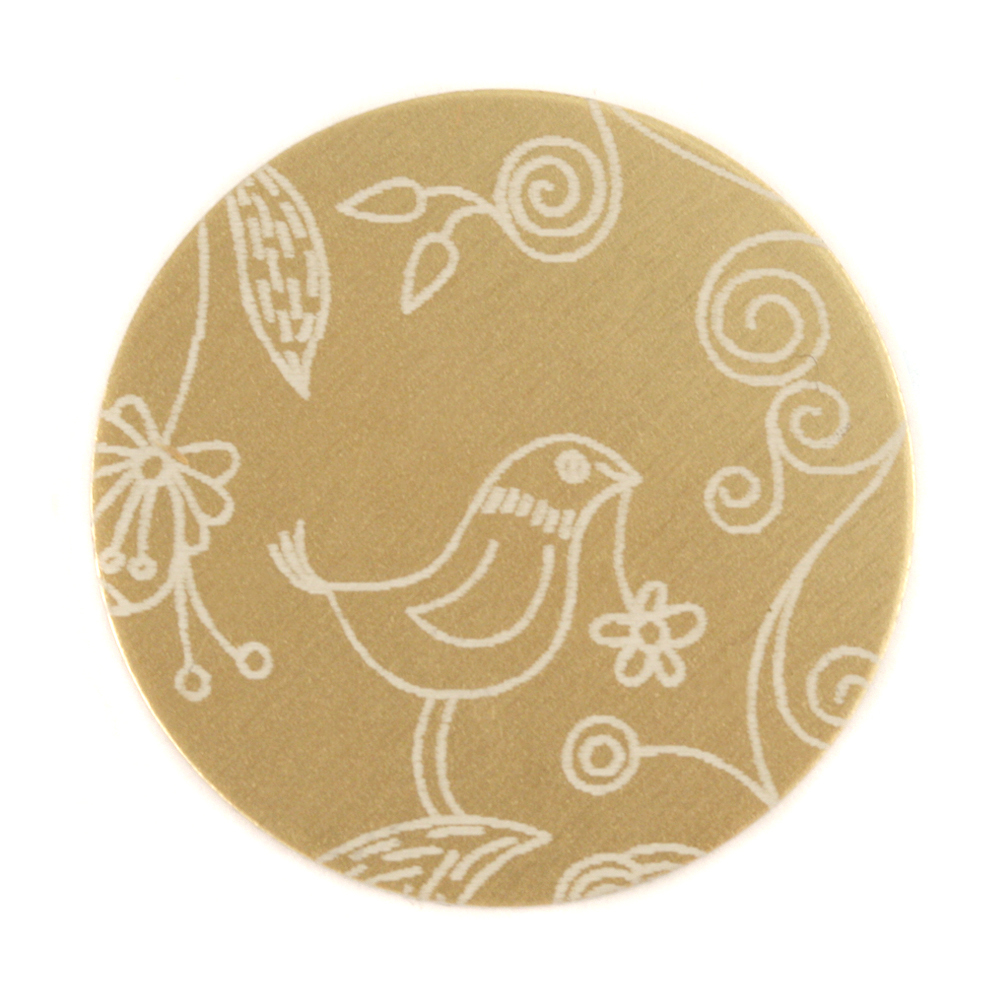 "Anodized Aluminum 1"" Circle, Gold, Design #22, 22g"