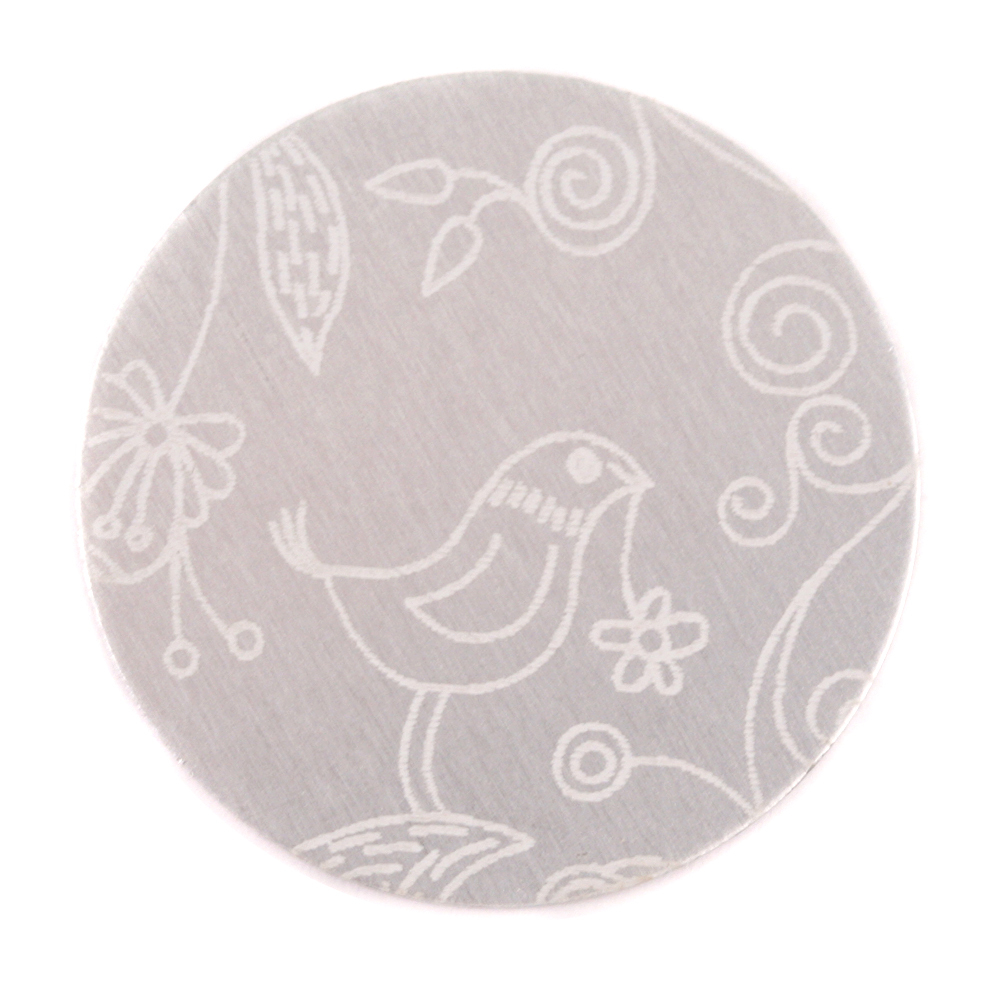 "Anodized Aluminum 1"" Circle, Silver, Design #22, 22g"