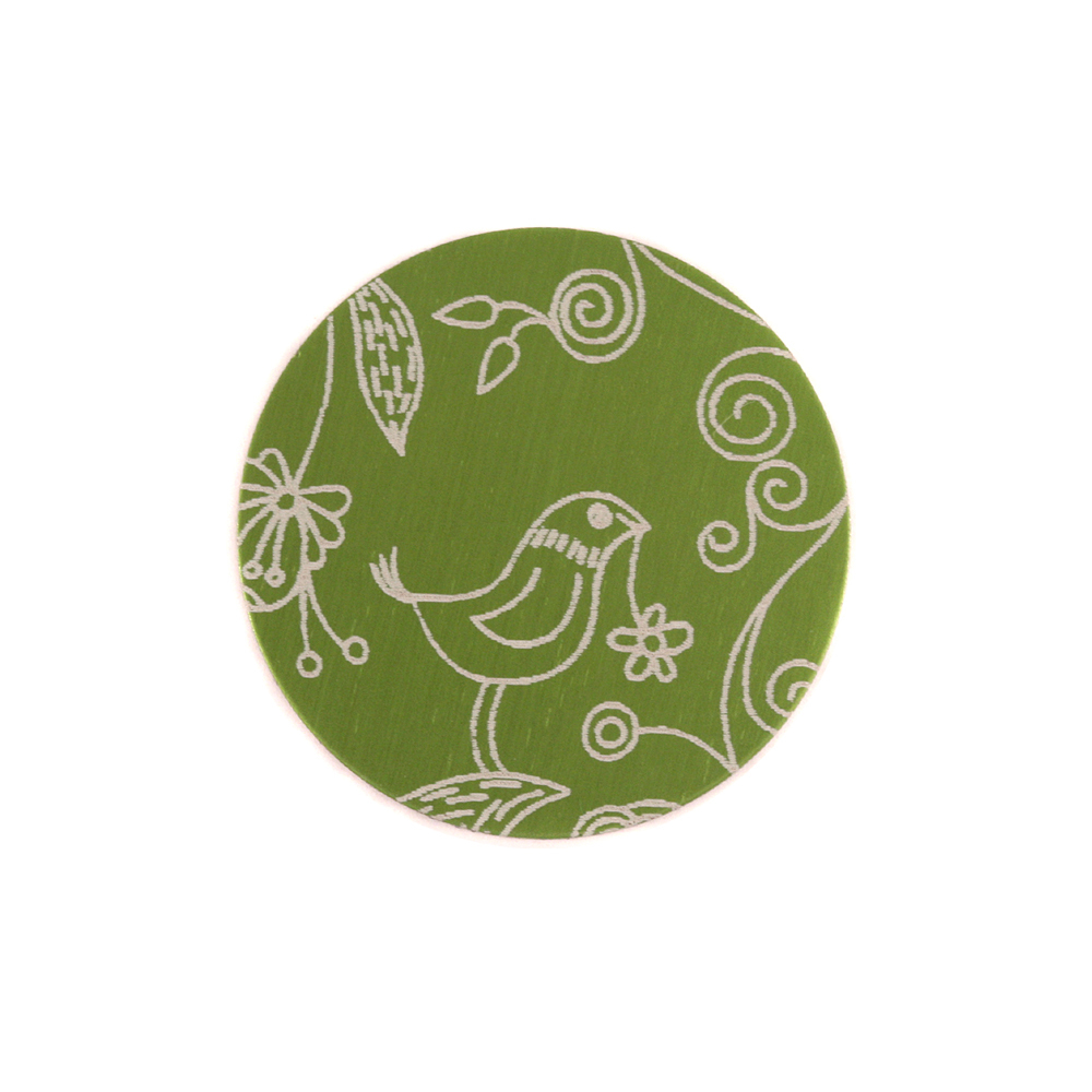 """Anodized Aluminum 5/8"""" Circle, Lime Green, Design #22, 22g"""