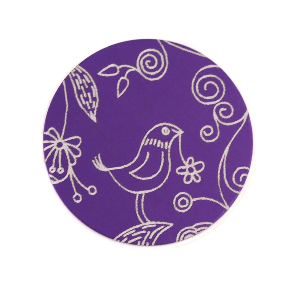 "Anodized Aluminum 3/4"" Circle, Purple, Design #22, 22g"