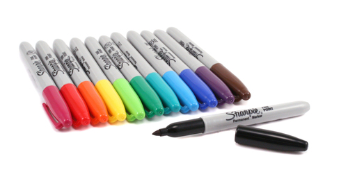 Closeout Assorted Color Sharpie Permanent Fine Point Markers,12 pk