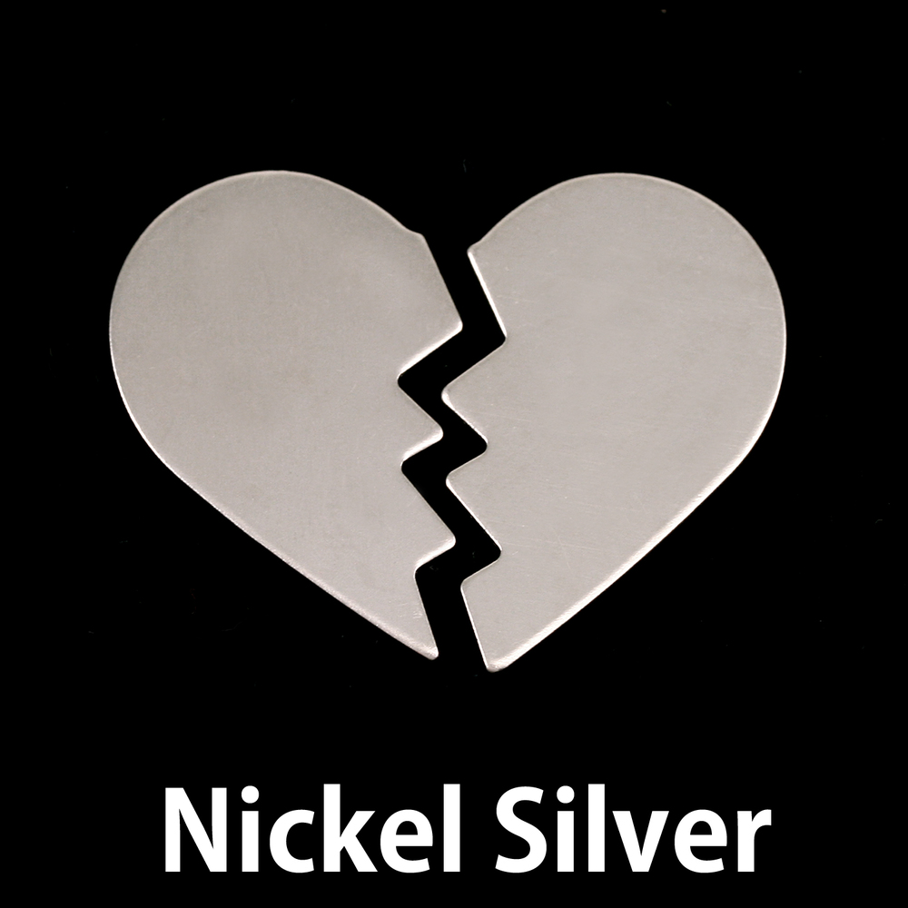 Metal Stamping Blanks Nickel Silver Broken Heart, 2 pieces, 24g