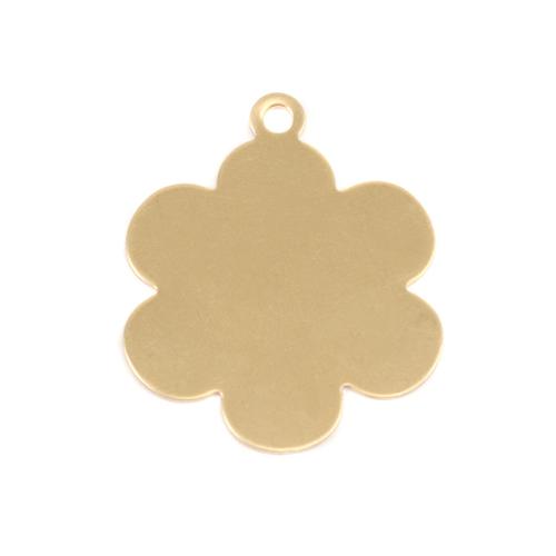 """Metal Stamping Blanks Brass 1"""" Flower w/Top Loop, 24g"""