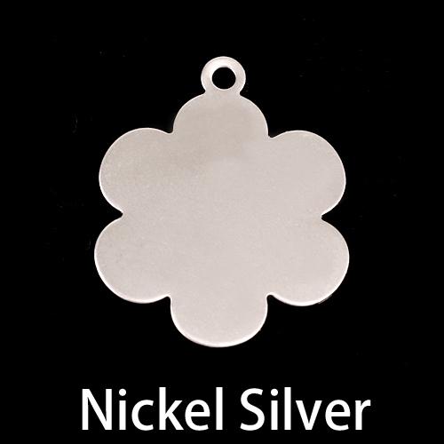"""Metal Stamping Blanks Nickel 1"""" Flower w/Top Loop, 24g"""