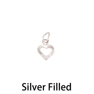 Charms & Solderable Accents Silver Filled Diamond Cut Heart Charm